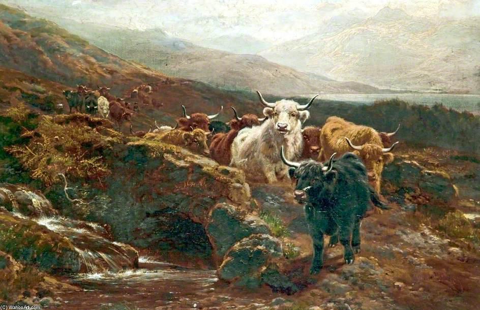 顺序 艺术再现 印象派 : 苏格兰风景,高地牛 通过 william watson